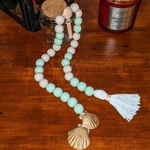 Wood Bead Garland with Gold Organic Natural Shell